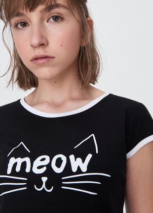 Новая женская черная футболка польша принт кот кошка мордочка ...