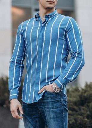 Приталенная мужская рубашка голубая в полоску