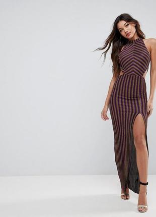 Очаровательное нарядное длинное блестящее платье asos