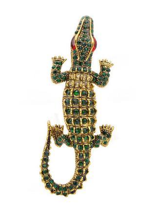 Винтажная брошь кулон крокодил аллигатор ювелирная бижутерия
