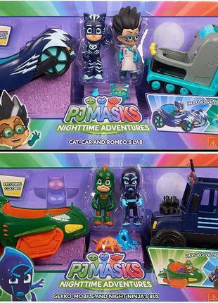 Герои в масках: Кэтбой и Ромео; Гекко и Ниндзя. PJ Masks набор...