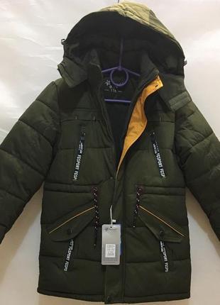 Удлиненная зимняя куртка-пальто на мальчика 9-10 лет хаки