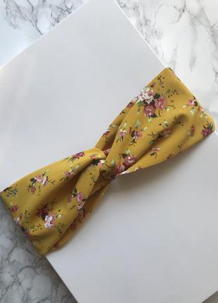 Желтая повязка на голову/для волос/тюрбан в цветочный принт