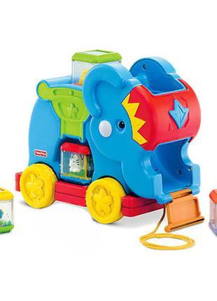 Каталка-игрушка fisher price слоненок с кубиками