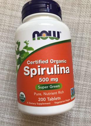 Спирулина органическая 500 mg  Now