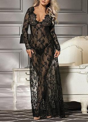 Черный длинный пенюар ажурное платье гипюр с вышивкой длинный ...