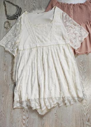 Белое ажурное платье гипюр стрейч короткое нарядное батал боль...