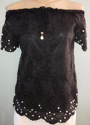 Женская гипюровая кофта-блуза с бусинами, черная