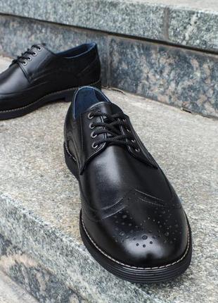 Мужские броги, туфли oskar кожаные черные на шнурках