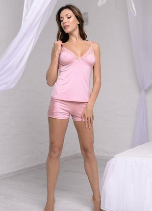 """Женская однотонная розовая пижама из коллекции """"Versale"""" (60508)"""