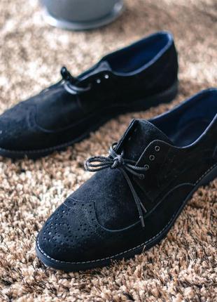 Мужские замшевые броги, туфли oskar чёрные