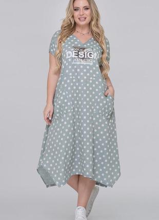 Летнее легкое платье лен,свободный стиль