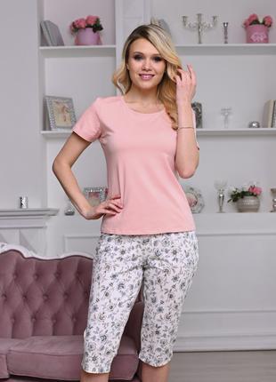 Женская цветная пижама (футболка+ бриджи) (арт. 851-1)