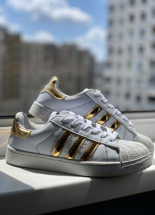 Кеды кроссовки адидас adidas superstar белые и золотистые