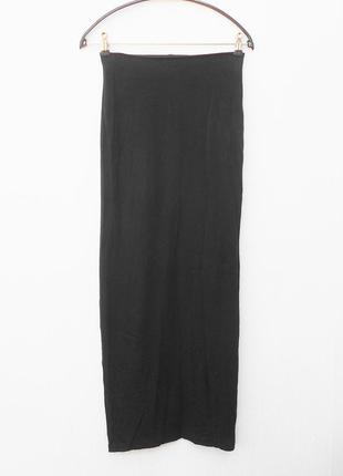Черная летняя длинная трикотажная юбка