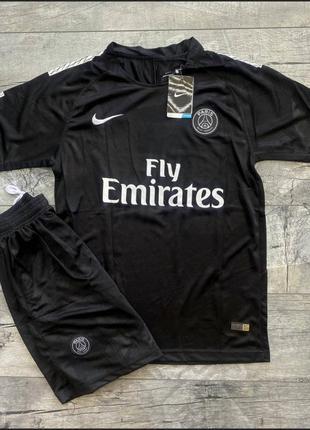 Скидка черный летний спортивный костюм шорты футболка качество