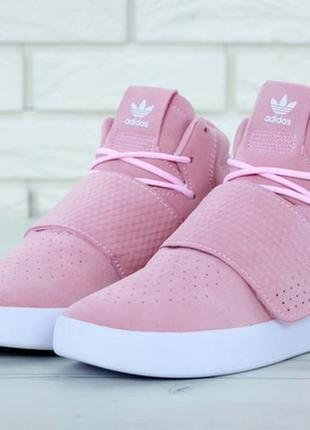 Женские демисезонные кроссовки adidas tubular pink.