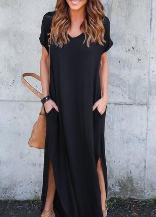 Платье темно-синее длинное летнее с коротким рукавом l xl 3401