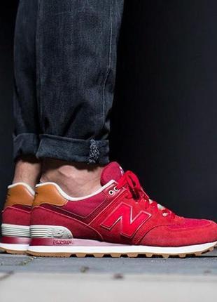 Оригинал new balance! ярик красные стильные кроссовки 574 моде...