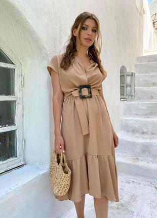 Платье женское бежевое с поясом