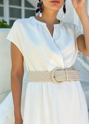 Платье женское белое с поясом