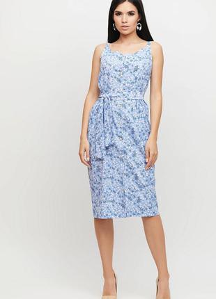Платье-футляр на бретелях из хлопковой ткани