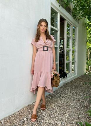 Платье женское розовое с поясом