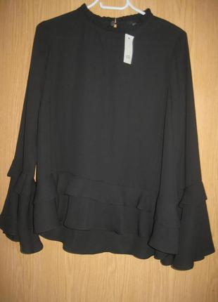 "Новая черная блузка ""r i"" р.48"