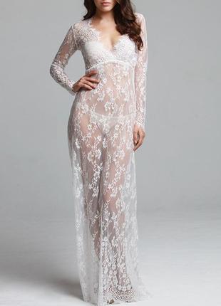 Пеньюар платье для беременной фотосессии белый размеры s m 3397