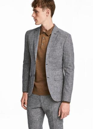 Льняной пиджак меланж h&m premium quality , slim fit !