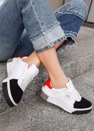 Puma cali white black red женские кроссовки