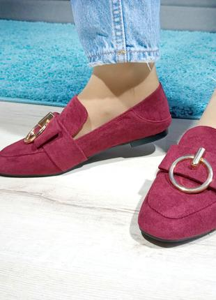 Женские туфли (лоферы) цвета бордо с декором Код: 1312