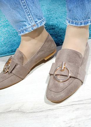 Женские туфли (лоферы) бежевого цвета с декором Код: 1313