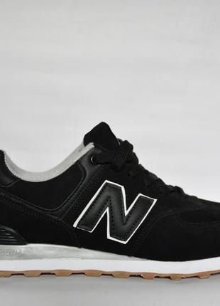Мужсие кроссовки new balance 574 classic замшевые черные