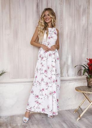 Модное длинное белое платье с присборенным низом