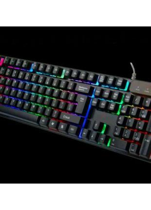 Клавиатура проводная с цветной подсветкой USB UKC HK-6300 для ПК