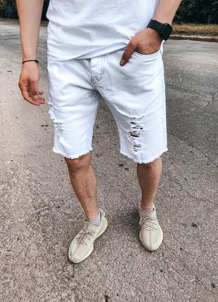 Джинсовые белые шорты мужские