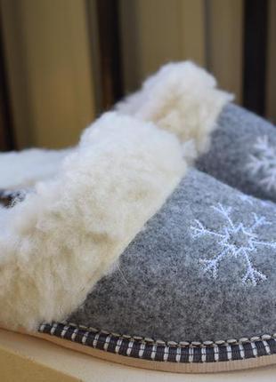 Тапочки тапки шлепанцы овчина шерсть р.39 25 см