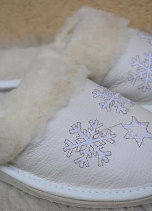 Кожаные тапочки шерсть овчина р.39 25 см чуть маломерят польша