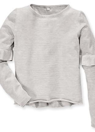 Мягкий пуловер, джемпер р.146-152 alive серый с воланами на ру...
