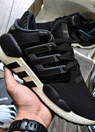 Adidas EQT Support 91/18 black (черно/белые)
