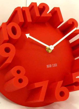 Настенные часы объемные крупные цифры 3D Red