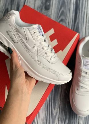 4082 Nike Air Max 90 кроссовки женские белые Найк аир макс біл...