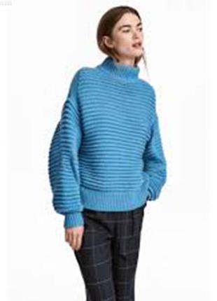 Оригинальный свитер, джемпер l 44-46 рельефной вязки h&m швеция