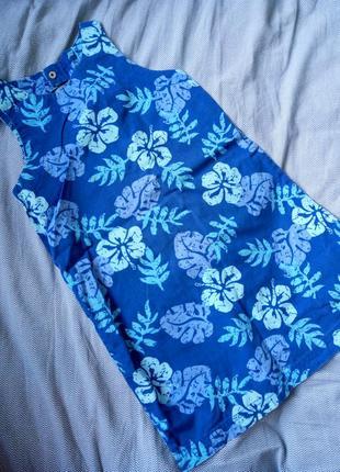 Платье сарафан в тропический принт
