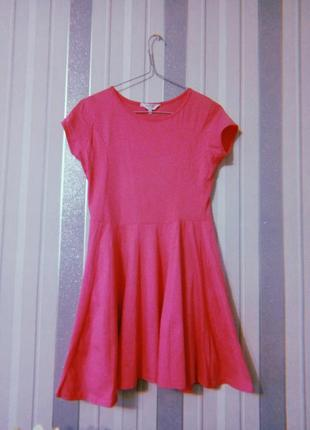 Короткое платье солнце клеш туника розового цвета