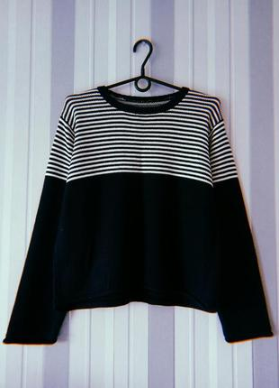 Свитер свитерок темно синий с полосками