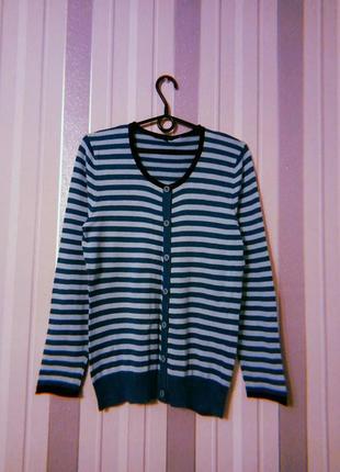 Кофта свитер в полоску бирюзового цвета