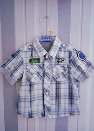 Рубашка в клетку для мальчика с нашивками
