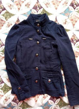Пальто ветровка куртка синего цвета